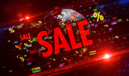 Cyber Monday sale on digital globe 3d illustration. Abstract concept background of retail promotion and business.