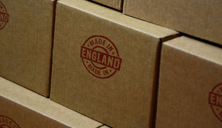 Made in England stamp printed on cardboard box. Factory, manufacturing and production country concept.