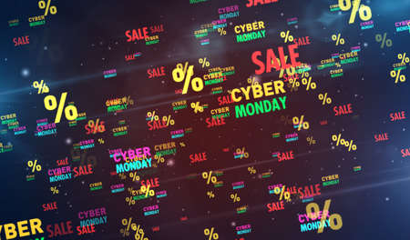 Cyber Monday sale 3d illustration. Abstract concept digital background of retail promotion and business. 写真素材