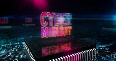 Cyber Monday sale, digital shopping, business, marketing, online shop and retail promotion concept. Futuristic 3D icon flying over computer board circuit. Abstract background illustration.
