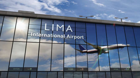 Jet aircraft landing at Lima, Peru 3D rendering illustration. Arrival in the city with the glass airport terminal and reflection of the plane. Travel, business, tourism and transport concept. Reklamní fotografie