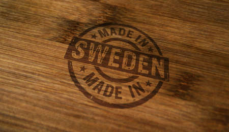 Made in Sweden stamp printed on wooden box. Factory, manufacturing and production country concept.