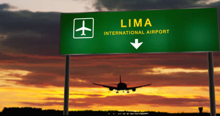 Airplane silhouette landing in Lima, Peru. City arrival with airport direction signboard and sunset in background. Trip and transportation concept 3d illustration.