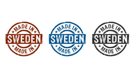 Made in Sweden stamp icons in few color versions. Factory, manufacturing and production country concept 3D rendering illustration. Reklamní fotografie