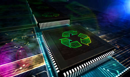 Recycling symbol, e-waste, ecology, recyclable technology, reuse electro-waste, green industry and environmental protection concept. 3d rendering illustration.