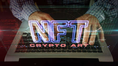 NFT crypto art sign, non fungible token of unique artist collectibles, blockchain and digital artwork selling technology symbol. Man typing on keyboard. Futuristic abstract concept 3d rendering.