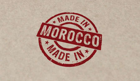 Made in Morocco stamp icons in few color versions. Factory, manufacturing and production country concept 3D rendering illustration. Reklamní fotografie