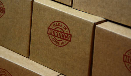 Made in Morocco stamp printed on cardboard box. Factory, manufacturing and production country concept.