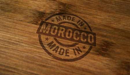 Made in Morocco stamp printed on wooden box. Factory, manufacturing and production country concept. Reklamní fotografie