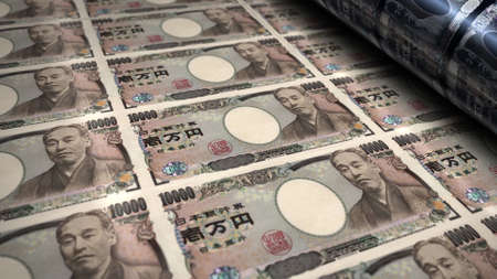Japanese yen money printing 3d illustration. JPY banknote bundle stacks. Concept of finance, cash, economy crisis, business success, recession, bank, tax and debt in Japan.