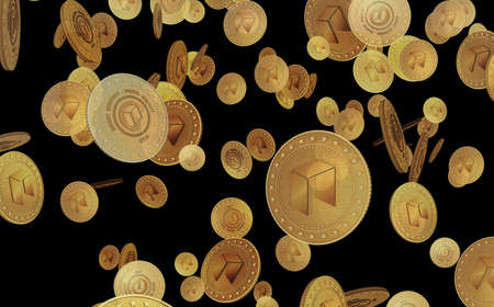 Neo altcoin cryptocurrency symbol gold coin on green screen background. Abstract concept 3d illustration.