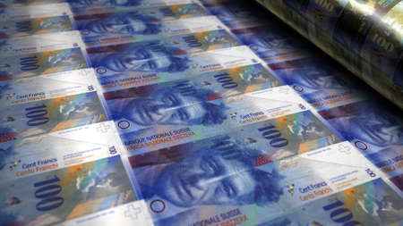 Swiss Franc money printing 3d illustration. Switzerland 100 CHF banknote bundle stacks. Concept of finance, cash, economy crisis, business success, recession, bank, tax and debt. Reklamní fotografie