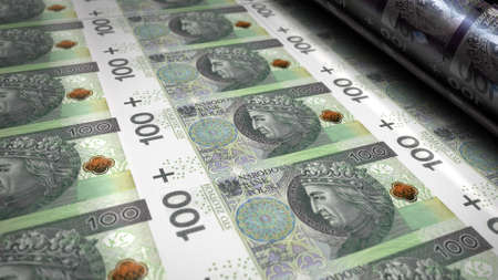 Polish Zloty PLN money printing 3d illustration. 100 PLN banknote bundle stacks. Concept of finance, cash, economy crisis, business success, recession, bank, tax and debt in Poland. Reklamní fotografie