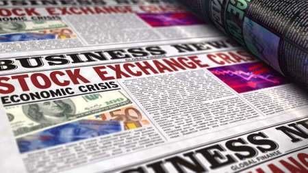 Stock exchange crash business news. Daily newspaper print. Vintage paper media press production abstract concept. Retro style 3d rendering illustration. Economic crisis and market collapse concept. Reklamní fotografie