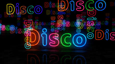 Disco symbol neon symbol. Light color bulbs with retro nightlife city music club sign. Abstract concept 3d illustration.