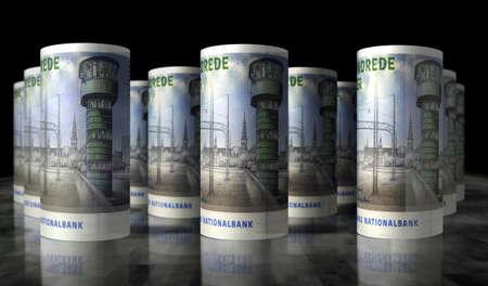 Danish krona money pack 3d illustration. DKK banknote bundle stacks. Concept of finance, cash, economy crisis, business success, recession, bank, tax and debt in Denmark. Banque d'images