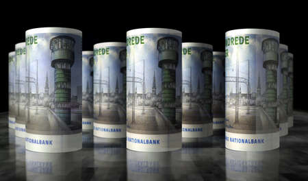 Danish krona money pack 3d illustration. DKK banknote bundle stacks. Concept of finance, cash, economy crisis, business success, recession, bank, tax and debt in Denmark. Reklamní fotografie