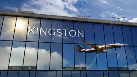 Jet aircraft landing at Kingston, Jamaica 3D rendering illustration. Arrival in the city with the glass airport terminal and reflection of the plane. Travel, business, tourism and transport concept. Reklamní fotografie