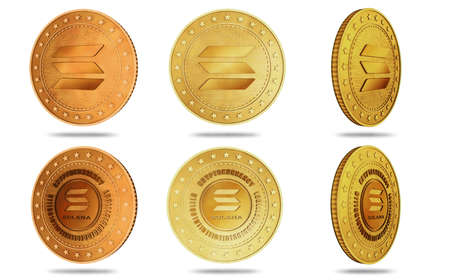 Solana altcoin cryptocurrency symbol isolated gold coin on green screen background. Abstract concept illustration. Reklamní fotografie