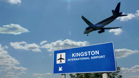 Airplane silhouette landing in Kingston, Jamaica. City arrival with international airport direction signboard and blue sky in background. Travel, trip and transport concept 3d illustration.