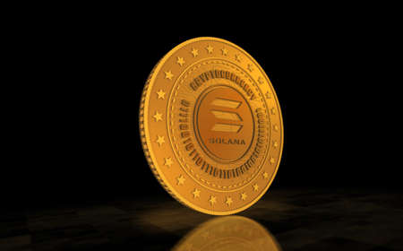 Solana altcoin cryptocurrency symbol gold coin on green screen background. Abstract concept 3d illustration.