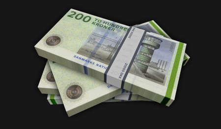 Danish krona money pack 3d illustration. DKK banknote bundle stacks. Concept of finance, cash, economy crisis, business success, recession, bank, tax and debt in Denmark.