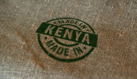 Made in Kenya stamp printed on linen sack. Factory, manufacturing and production country concept. Reklamní fotografie