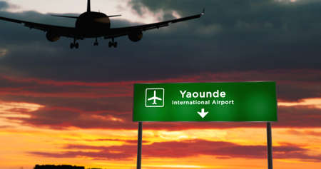 Airplane silhouette landing in Yaounde, Cameroon. City arrival with airport direction signboard and sunset in background. Trip and transportation 3d concept.