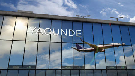 Jet aircraft landing at Yaounde, Cameroon 3D rendering animation. Arrival in the city with the glass airport terminal and reflection of the plane. Travel, business, tourism and transport concept. Reklamní fotografie