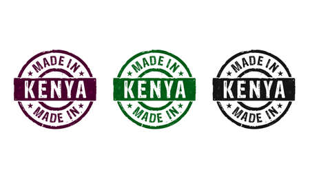 Made in Kenya stamp icons in few color versions. Factory, manufacturing and production country concept 3D rendering illustration.