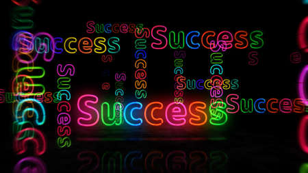 Success symbol neon symbol. Light color bulbs with retro nightlife city business club sign. Abstract concept 3d illustration.