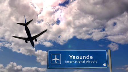 Jet plane landing in Yaounde, Cameroon. City arrival with airport direction sign. Travel, business, tourism and transport concept. 3D rendering.