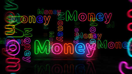 Money neon symbol. Light color bulbs with retro nightlife city business club sign. Abstract concept 3d illustration. Reklamní fotografie