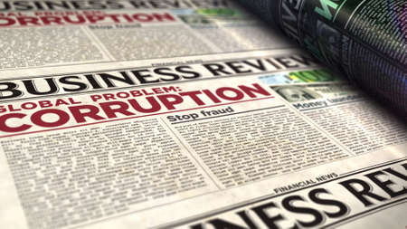 Corruption in business global problem, stop fraud and money laundering news. Daily newspaper print. Vintage paper media press production abstract concept. Retro style 3d rendering illustration. Reklamní fotografie