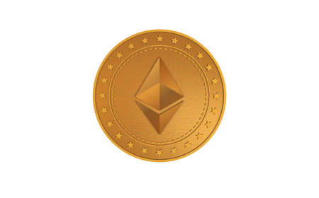 Ethereum ETH cryptocurrency symbol isolated gold coin on green screen background. Abstract concept illustration.