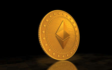 Ethereum ETH cryptocurrency symbol gold coin on green screen background. Abstract concept 3d illustration.