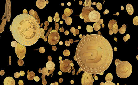 Dash DeFi cryptocurrency symbol gold coin on green screen background. Abstract concept 3d illustration.