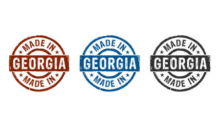 Made in Georgia stamp icons in few color versions. Factory, manufacturing and production country concept 3D rendering illustration.