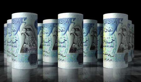 Arab Emirates Dirhams money pack 3d illustration. 500 AED Dubai banknote bundle stacks. Concept of finance, cash, economy crisis, business success, recession, bank, tax and debt. Stok Fotoğraf