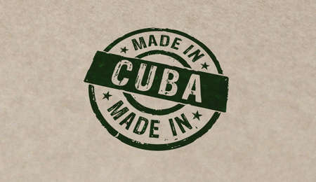 Made in Cuba stamp icons in few color versions. Factory, manufacturing and production country concept 3D rendering illustration. Stok Fotoğraf