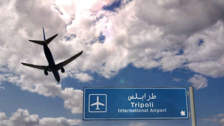 Airplane silhouette landing in Tripoli, Libya. City arrival with international airport direction signboard and blue sky. Travel, trip and transport concept 3d illustration. Stok Fotoğraf