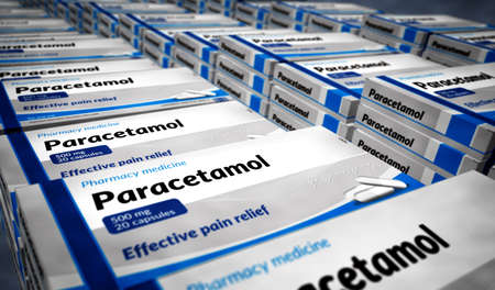 Paracetamol tablets box production line. Emergency painkiller, headache analgesic and help medical pills pack factory. Abstract concept 3d rendering illustration.