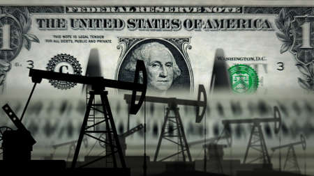 One Dollar USA money counting machine with oil pump. Petroleum rig and fuel business with banknotes count. Economy abstract concept background illustration. Stok Fotoğraf