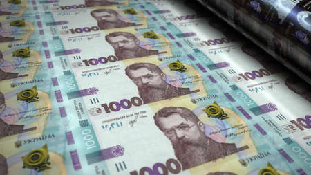Ukrainian Hryvnia money pack 3d illustration. 1000 UAH Hryvna banknote printing. Concept of finance, cash, economy crisis, business success, recession, bank, tax and debt in Ukraine.