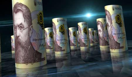 Ukrainian Hryvnia money pack 3d illustration. 1000 UAH Hryvna banknote bundle stacks. Concept of finance, cash, economy crisis, business success, recession, bank, tax and debt in Ukraine.