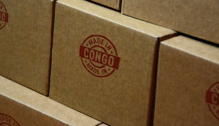 Made in Congo stamp printed on cardboard box. Factory, manufacturing and production country concept. Stok Fotoğraf