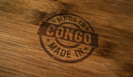 Made in Congo stamp printed on wooden box. Factory, manufacturing and production country concept. Stok Fotoğraf