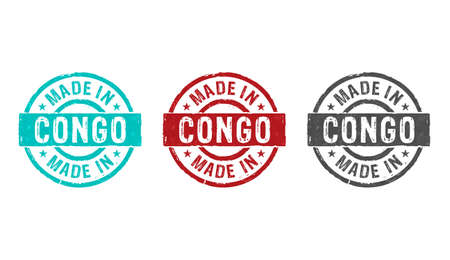 Made in Congo stamp icons in few color versions. Factory, manufacturing and production country concept 3D rendering illustration. Stok Fotoğraf