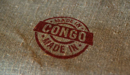 Made in Congo stamp printed on linen sack. Factory, manufacturing and production country concept.