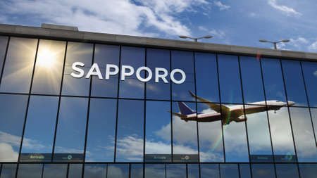 Aircraft landing at Sapporo, Japan 3D rendering illustration. Arrival in the city with the glass airport terminal and reflection of jet plane. Travel, business, tourism and transport. Stok Fotoğraf